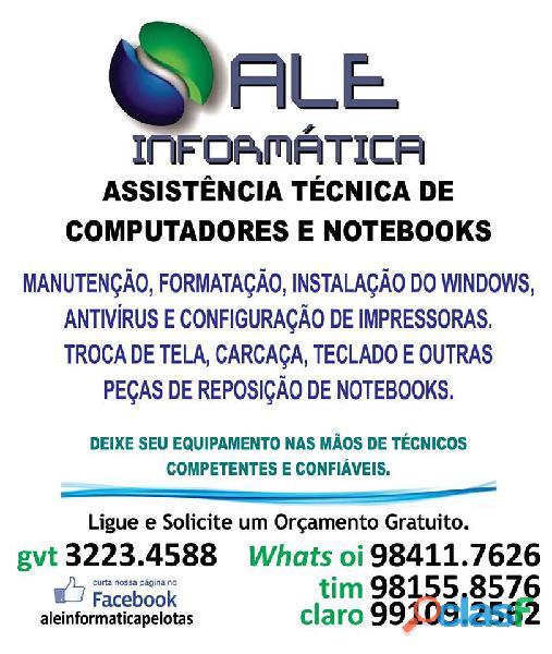Manutenção e formatação de notebook e computador em pelotas