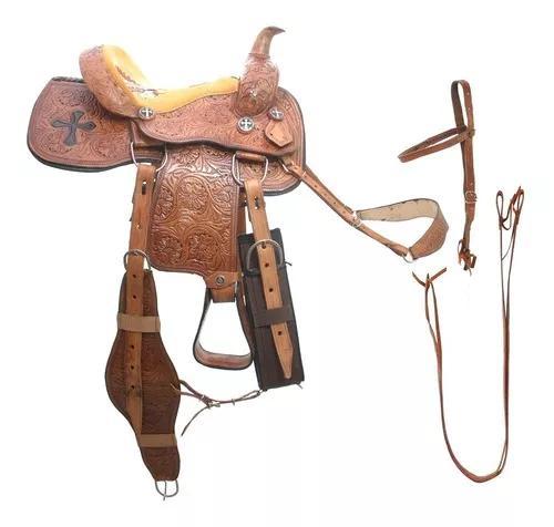 Sela cela americana quarto de milha 17 couro búfalo inox
