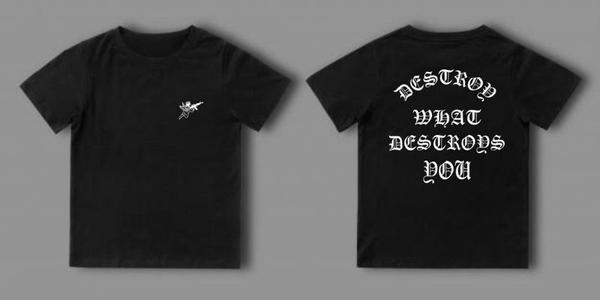 "Camisa preta anjo ""destroy what destroys you"""