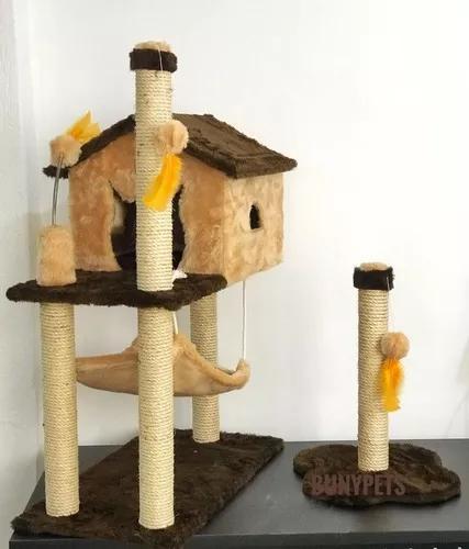 Kit para gato arranhador casa com rede arranhador brinquedo