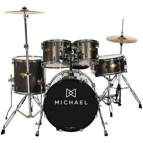Bateria acustica michael classic pro dm 843 completa pratos