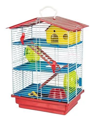Gaiola hamster roedores 3 andares play ground com teto