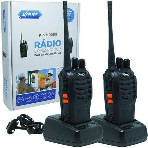 Kit 2 rádios comunicador ht walktalk uhf 16 canais