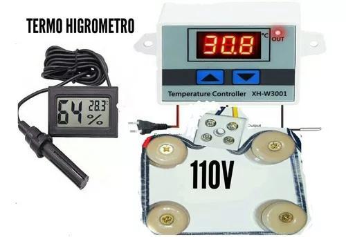 Kit para chocadeira 110v termostato resistência medidor