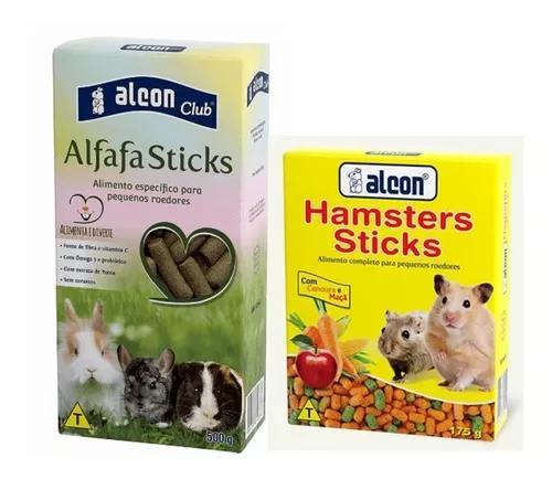 Kit rações alcon hamster stick 175g e alfafa sticks 500g