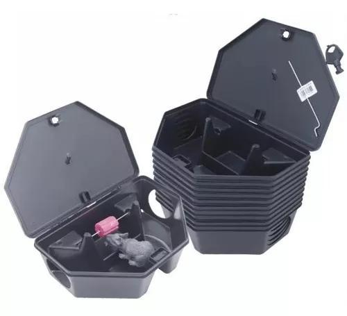 Porta isca p/ratos c/ iscas parafinado c/ 10 armadilhas