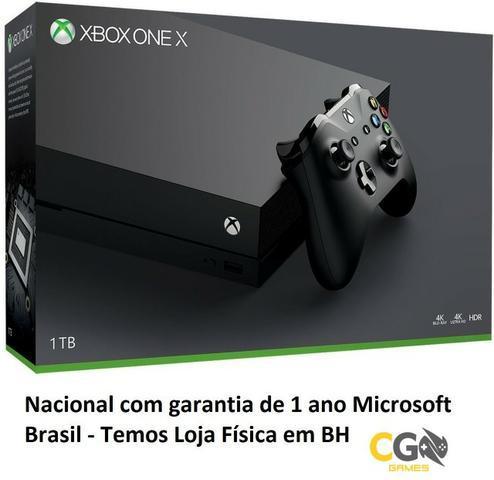 Xbox one x 4k 1tb novo lacrado nacional garantia 1 ano