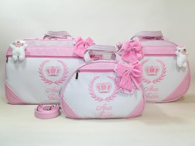 kit tres Bolsas Maternidade com nome do bebe
