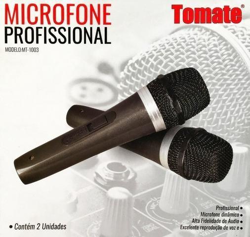 2 microfone com fio duplo profissional modelo mt-1003,