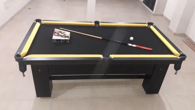 Mesa charme 2,20 x 1,20 cor preta tecido preto e borda