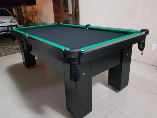 Mesa charme sinuca cor preta tecido preto e borda verde mod.