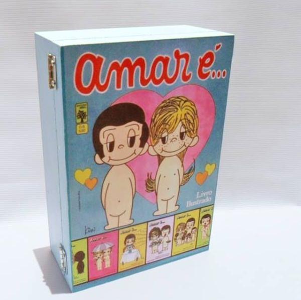 Caixa decorativa com tema retrô - Amar é...