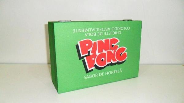 Caixa decorativa com tema retrô - chiclete ping pong