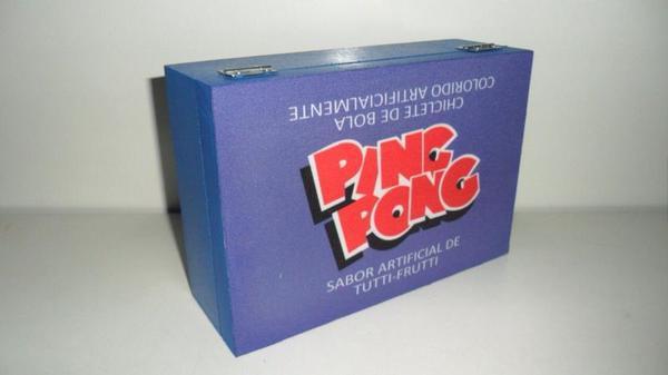 Caixa decorativa com tema retrô - chiclete ping pong tutti