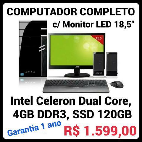 """Computador novo com monitor led 18,5"""" hdmi, intel dual core,"""