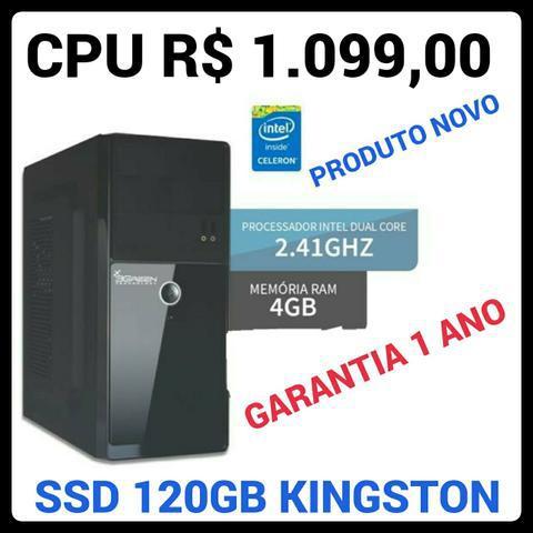 Cpu novo, intel dual core, ssd 120gb kingston, 4gb ddr3,