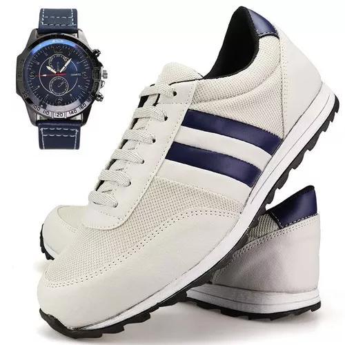 Kit tenis sapatênis masculino sapato casual + relógio