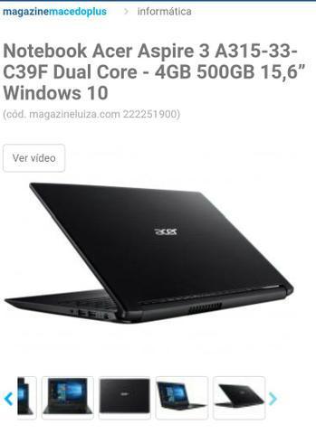 Notebook acer aspire 3 a315-33-c39f dual core - 4gb 500gb