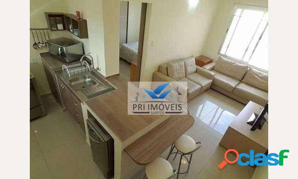 Apartamento com 1 dormitório à venda, 45 m² por r$ 372.000 - josé menino - santos/sp