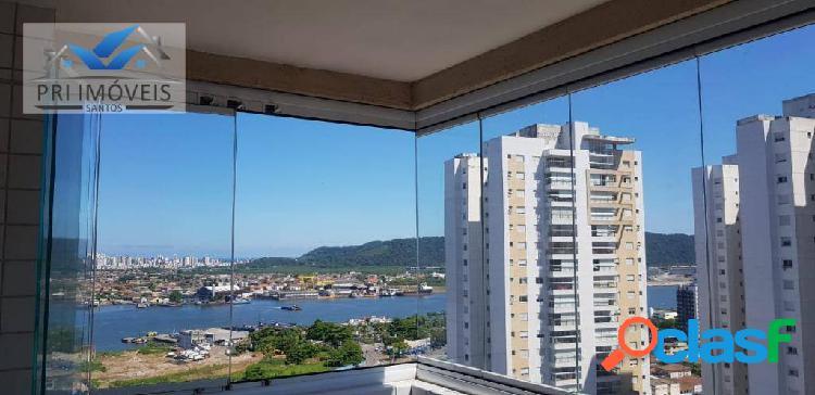 Apartamento com 2 dormitórios para alugar, 92 m² por r$ 3.200/mês - ponta da praia - santos/sp