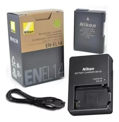 Bateria en-el14 + carregador p/nikon d3100 d3200 d3300 d5200