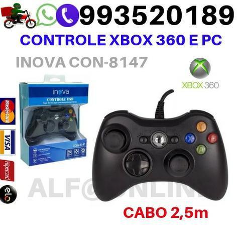 Controle para xbox 360 e computador pc com fio preto con