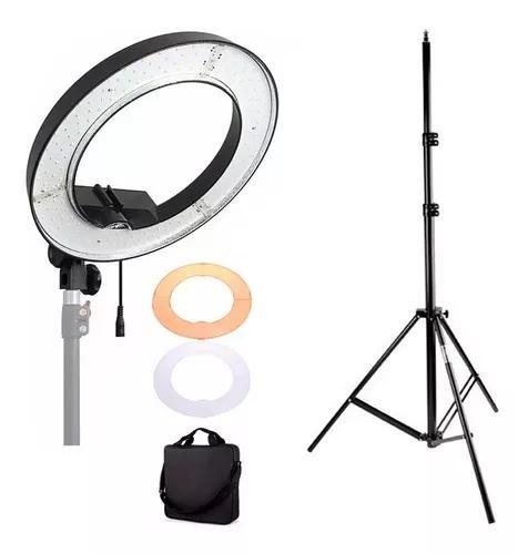 Iluminador led ring light circular 48cm 240 led 50w + tripé