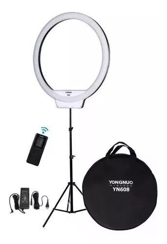 Iluminador ring light yongnuo yn608+fonte+tripe+2bateria+car