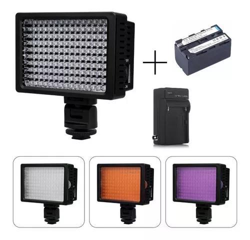 Kit iluminador led pro hd-160 + bateria 4400mah + carregador