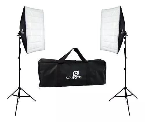 Kit luz continua c/ softbox tripé e bolsa ideal foto e