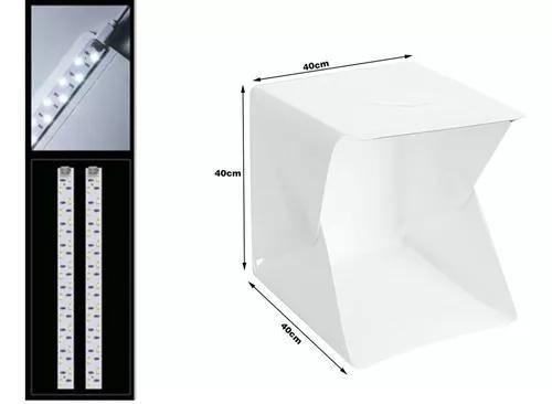 Mini estúdio fotográfico 2 fitas led pasta portátil