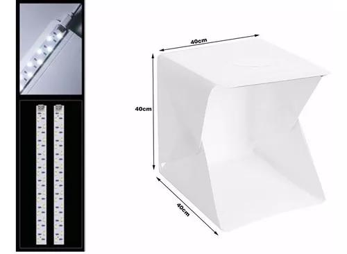 Mini estúdio fotográfico 40x40 cm c/ 2 barra 70 led