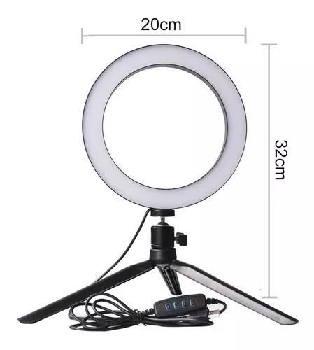 Mini iluminador ring light de mesa 56 leds 8 polegadas 5600k