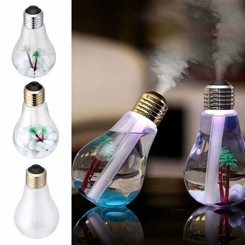 Mini umidificador de ar e luminária em formato de lampada