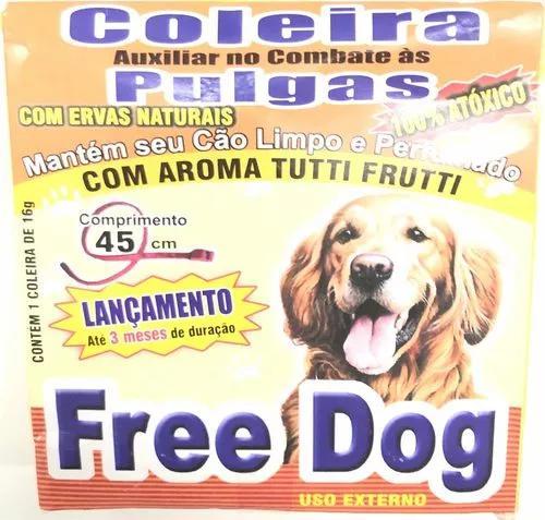 04 coleiras anti pulga para cachorro - free dog 100% natural