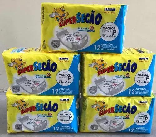 5 pacotes fralda super secão descartável para macho p 60