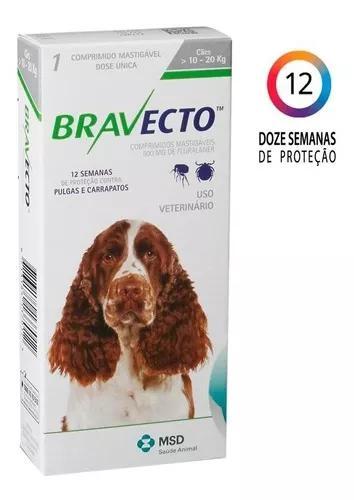 Antipulgas e carrapatos bravecto p/ cães 10 a 20 kg