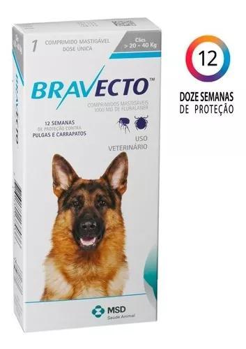 Antipulgas e carrapatos bravecto p/ cães 20 a 40 kg
