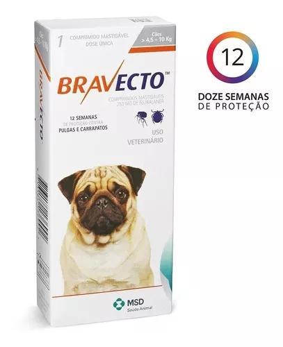Antipulgas e carrapatos bravecto p/ cães 4,5 a 10 kg