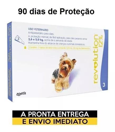 Antipulgas revolution 12% combo 3 pipetas cães de 2,6 a 5kg