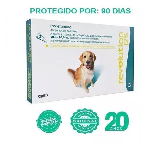 Antipulgas revolution 12% combo 3pipetas cães 20,1 a 40 kg