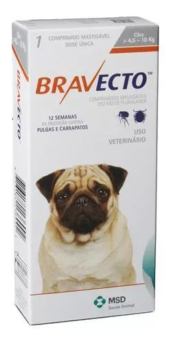 Bravecto 250 mg cães de 4,5 a 10 kg antipulga e carrapato -