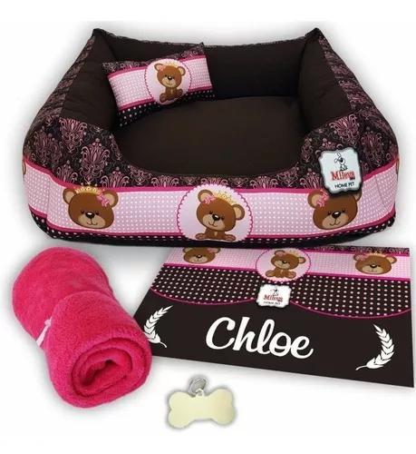 Cama pet 60x60 + tapete personalizado + manta soft + placa