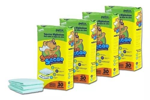 Combo 4 tapetes higiênicos para cachorro super secão 120