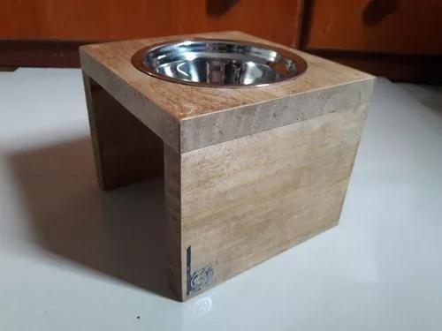 Comedouro individual madeira e inox para pet - gatos e cães