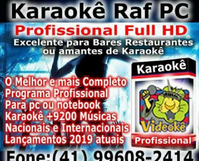Karaokê profissional raf full hd pc ou notebook