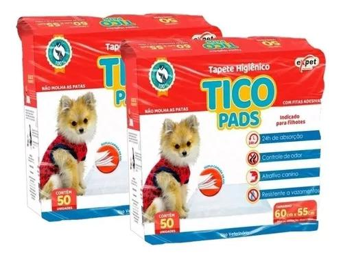 Kit 100 tapetes higienico caes médio porte cachorro 60x55cm