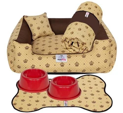Kit cama caminha 4 peças para cachorro - tamanho m 60x60
