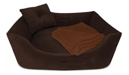 Kit cama caminha plush + mantinha soft cachorro gato 70x55