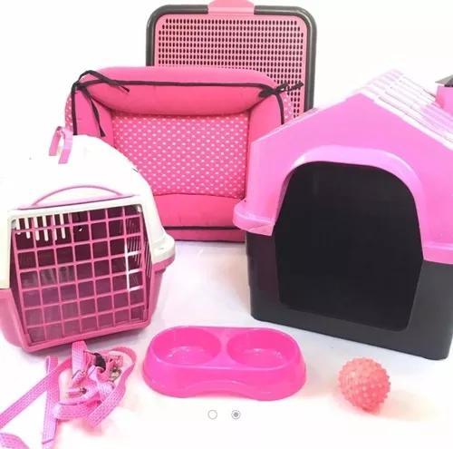 Kit luxo cama casinha plastica sanitario transporte cães p
